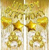 CHEPL Decoración de Fiesta de Cumpleaños en Oro Feliz Cumpleaños Guirnalda Globos de Confeti Cortina Oropel para Fiesta Decoración de Cumpleaños
