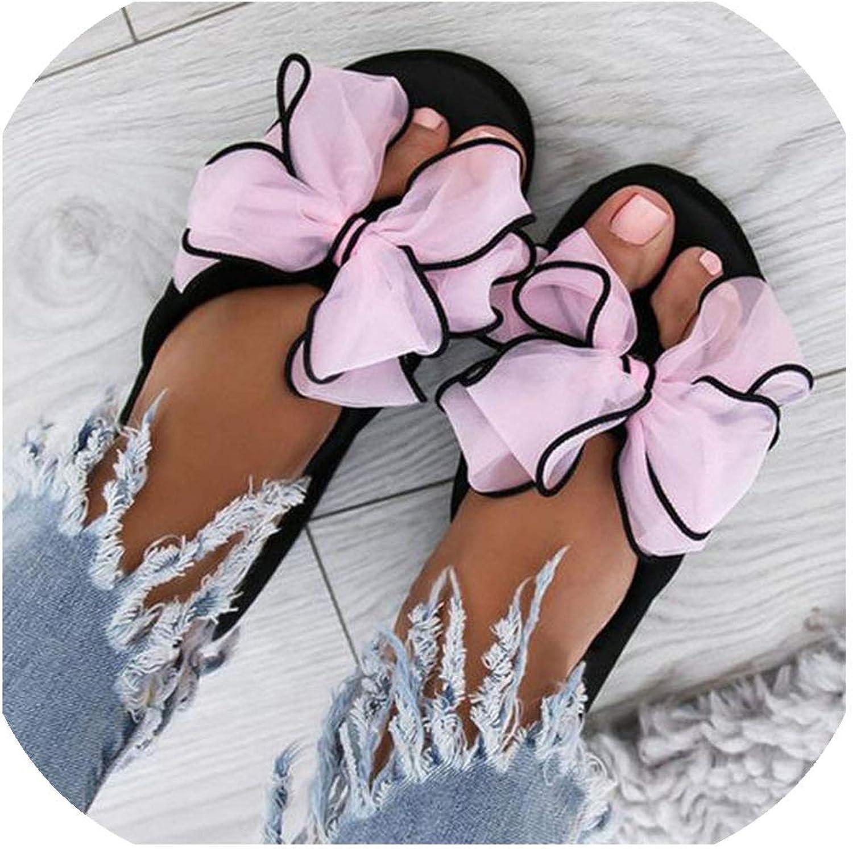 Woman Slippers Women Bow Wedges Flip Flops Non-Slip Clip Toe Beach Slippers shoes De Muj,