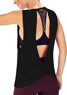 Women Cool Open V Back Workout Tank Deep Armholes Sleeveless Shirt Top with Twist Knot