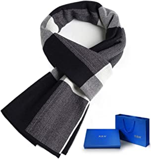 MUZIWENJU Men's Scarves, Autumn and Winter Fashion Versatile Cotton Scarves, Thick Warm Scarf (Four Colors Optional) (Color : Blue)