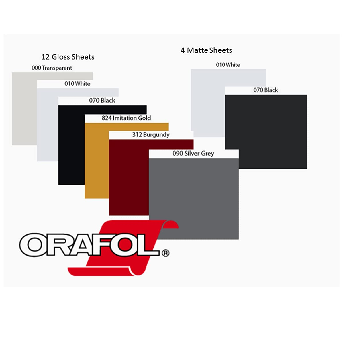 Oracal 651 Sample Vinyl Bundle 8 colors (16 Sheets) 12x12 Glossy: Brugandy, Black, White, Gold, Silver and Transparent; Matte: Black and White