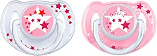Philips Avent Glow in the Dark Orthodontic Pacifier, 6-18 months, Pink/White, 2 pack, SCF176/24