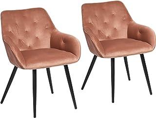Muele Cosy – Juego de 2 sillas de Comedor escandinavas de Terciopelo Coral, sillón de salón de diseño con reposabrazos, Acero Inoxidable, 56 x 59 x 75 cm