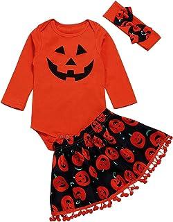 Halloween Newborn Baby Girl Skirt Bat Ghost Romper Pumpkin Skirt Outfit Set with Headband
