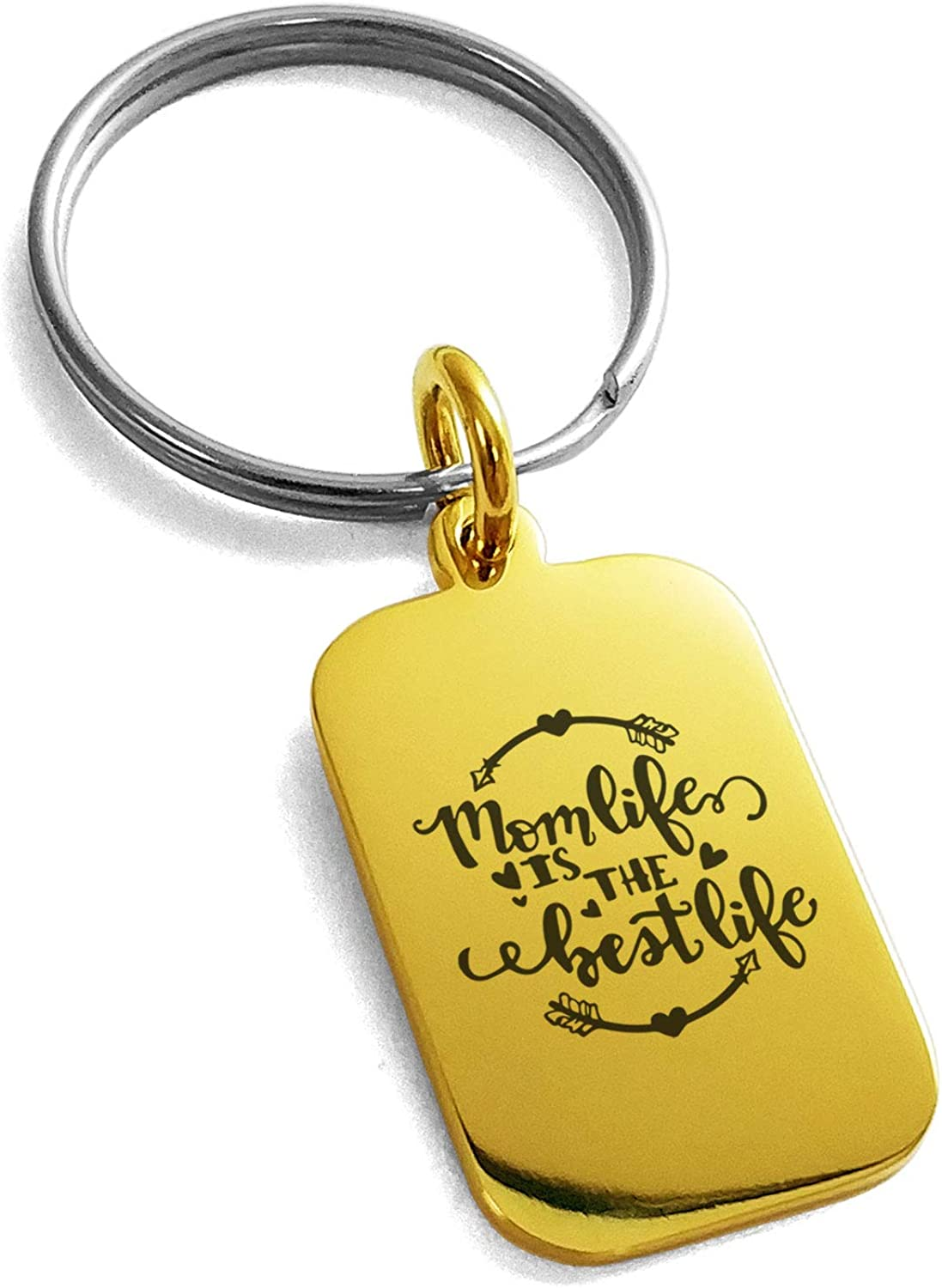 Tioneer Stainless Steel Mom Life is The Best Life Small Rectangle Dog Tag Charm Keychain Keyring