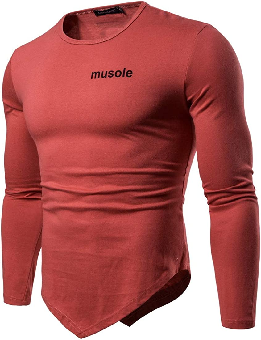Sushine Men Soft Stretchy Long Sleeves Slim Fit Athletic Muscle Cotton T Shirt S-XXL