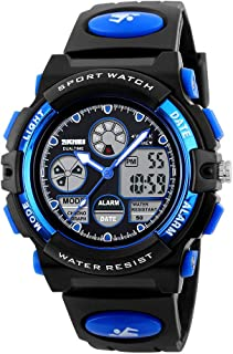 GOLDEN HOUR Waterproof Digital Analog Led Sport Watch for Students, Boy, Girls with Rubber Strap Black