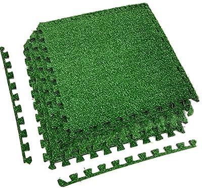 Sorbus Grass Mat Interlocking Floor Tiles – Soft Artificial Grass Carpet – Multipurpose Foam Tile Flooring – Patio, Playroom, Gym, Tradeshow 16 Sq ft (4 Tiles, Borders)