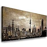 Julia-Art Leinwandbilder - 100 mal 40 cm Bild Berlin City,
