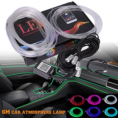 RGB LED Car Interior Neon EL Strip Light Sound Active Bluetooth Phone Control 6M (Fit iOS and Android)