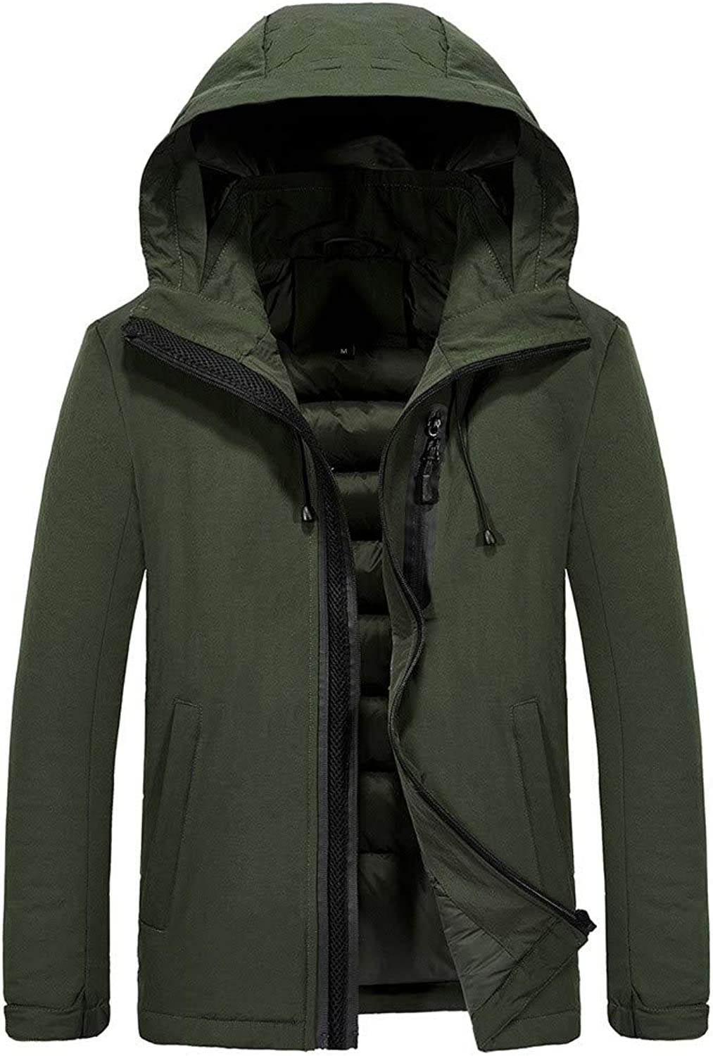 FANOUD Men's Winter Casual Hoodie Zipper Pocket Thickened Cotton Padded Jacket Coat