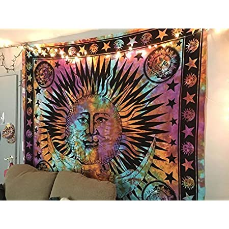 Sun /& Moon Indian Print Hippie Hippy Wall Hanging Tapestry Throw Bedspread Décor