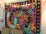 THE ART BOX Rainbow Psychedelic Sun Moon Stars Tie Dye Mandala Tapestry Hippie Hippy Celestial Wall Hanging Indian Trippy Bohemian Tapestries Good Morning Wall Tapestry for Bedroom Trippy Room Décor