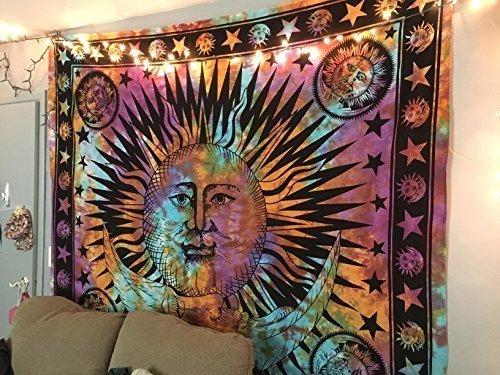 THE ART BOX Tapiz de Mandala con diseño psicodélico de arcoíris, diseño de Luna, con diseño de Mandala Hippie, Hippie, Hippie y Celestial, para Colgar en la Pared, tapices Indios y Bohemios