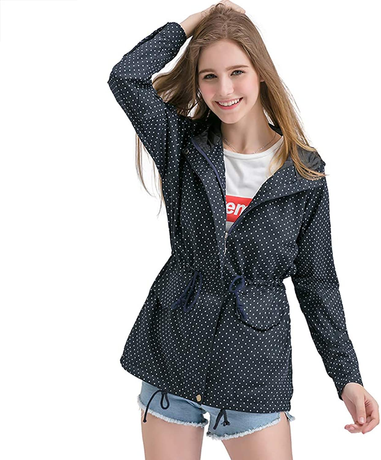 Women's Windbreaker Jacket, Long Hooded Lapel XL top in Spring and Autumn Fashion