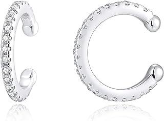 EAMTI 925 الفضة الاسترليني الغضروف أقراط الأذن الكفة لا ثقب للنساء مع زركونيا مكعب