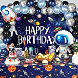 Outer Space Birthday Party Decoration Set,1 Outer Space Solar System Galaxy Planet Birthday Backdrop Banner,2 Tablecloth Cover ,44 Balloons for Kids Outer Space Theme Birthday Party and Supplies