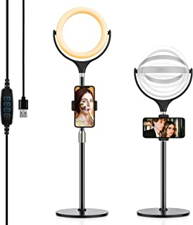 Selfie Ring Light with Adjustable Phone Holder&Stable Disc Base,Yoozon Dimmable Led RingLight with 3 Light Modes&10 Bright...