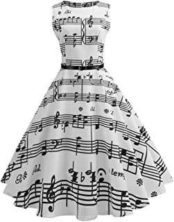 Women Vintage Music Printing Bodycon Sleeveless Casual Evening Party Prom Swing Dresses