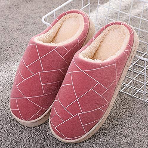 B/H Slipper Interiores y Exteriores,Pantuflas cálidas de Felpa, Zapatos de algodón para el Piso del hogar-Vino Rojo_36-37,Zapatilla Andar