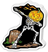 Uitee Store Cool Sticker (3 pcs/Pack, 3x4 inch) Spooky Dab Skeleton Pumpkin Halloween Dabbing Perfect for Water Bottle,Laptop,Phone, Extra Durable Vinyl Decal