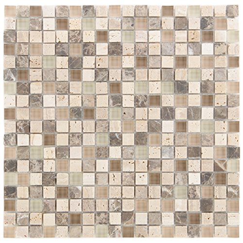 Combimozaïek tegels bruin beige wand vloer douche wc keuken | 10 matten | Type: es-78745_f