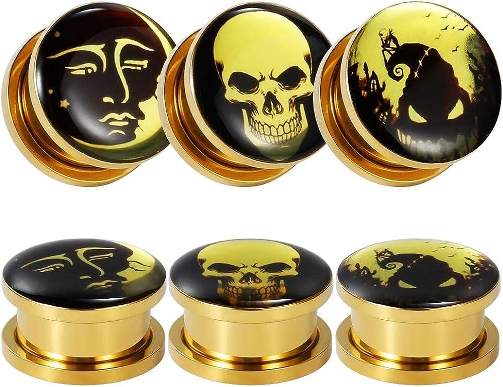 TBOSEN 6 Pcs Stanless Steel Gold Epoxy Screw Fit Ear Gauges Ear Plug Flesh Plugs Piercing Jewelry 2g - 1-3/16 inch