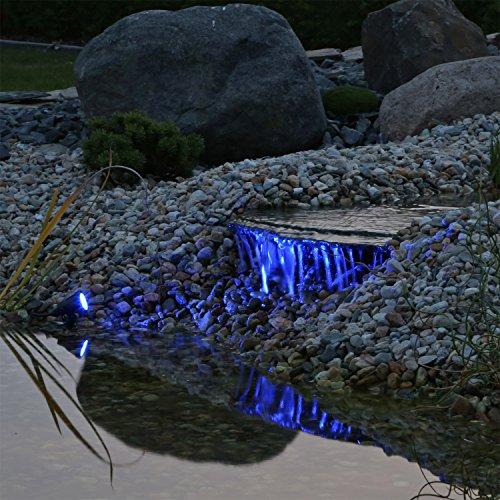 Profi Unterwasserbeleuchtung Teichstrahler 3er Set RGB LED Leuchten, 12V AC, Teichlicht, Teichlampen, Strahler zur Beleuchtung an Land unter Wasser, 8 Farben Farbwechsler