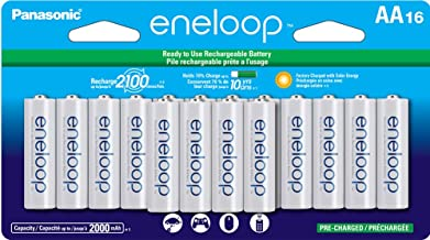 Panasonic BK-3MCCA16FA eneloop AA 2100 Cycle Ni-MH Pre-Charged Rechargeable Batteries, (package includes 16AA blue or 16AA white)