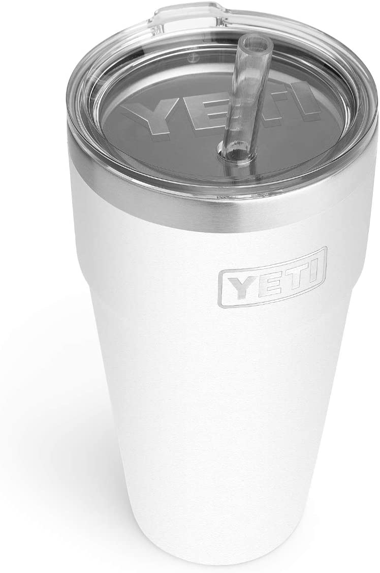 YETI Rambler 26 oz Straw Cup, Vacuum Insulated, Stainless Steel with Straw Lid, White
