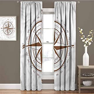 GUUVOR Compass Room Darkened Curtain Brown Detailed Symbol Insulated Room Bedroom Darkened Curtains W84 x L108 Inch