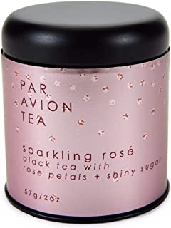 Par Avion Tea , Glitter Tea - Sparkling Rosé Blend - Small Batch Loose Leaf Black Tea With Rose Petals and Silver Sugar Crystals - 2 oz