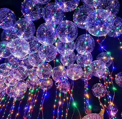 Dingcaiyi 12 Stück wiederverwendbare Luftballons mit LED-Beleuchtung, 50,8 cm, transparent