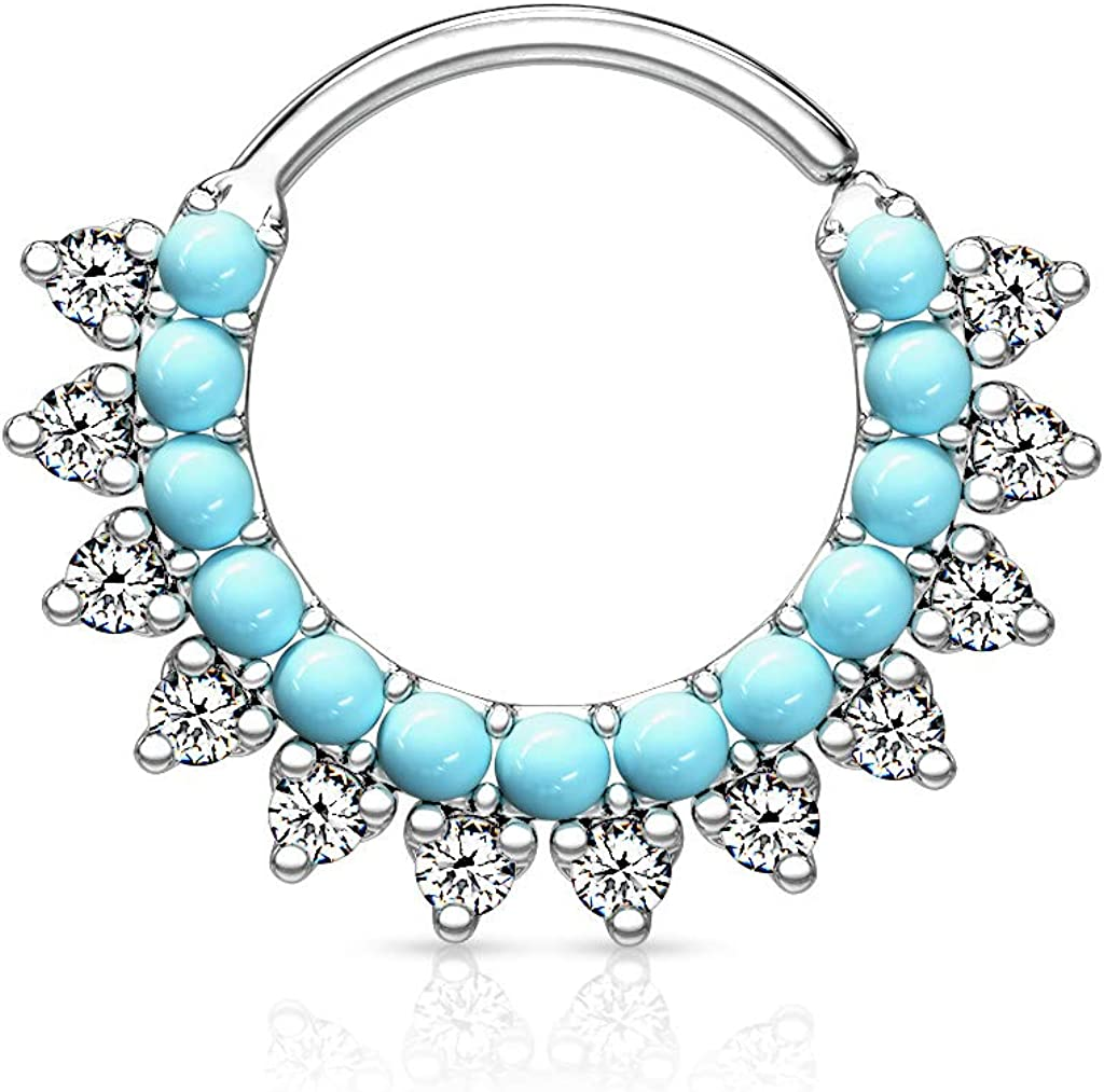 Dynamique Turquoise & CZ Double Lined Bendable Hoops for Ear Cartilage, Daith, Nose Septum (Sold Per Piece)