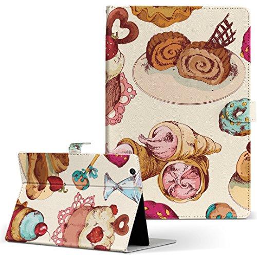 igcase KYT33 Qua tab QZ10 キュアタブ quatabqz10 手帳型 タブレットケース カバー レザー フリップ ダイアリー 二つ折り 革 直接貼り付けタイプ 008480 ラブリー お菓子 スイーツ イラスト カラフル