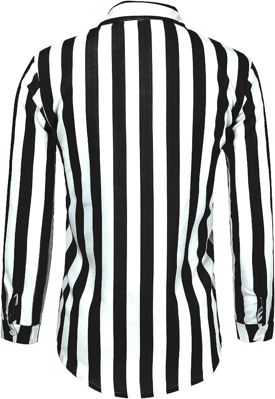 Men's Fashion Long Sleeve Button Down Shirt Classic Casual Vertical Striped Slim Fit Dress Shirts