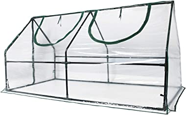 "Quictent Waterproof UV Protected Reinforced Mini Cloche Greenhouse 95"" WX 36"" D X 36"" / 71"" WX 36"" D X 36"" H Portable Green H"