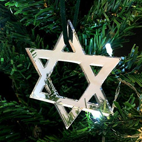 Servewell - Estrella de David para decoración de árbol de Navidad, 10 unidades