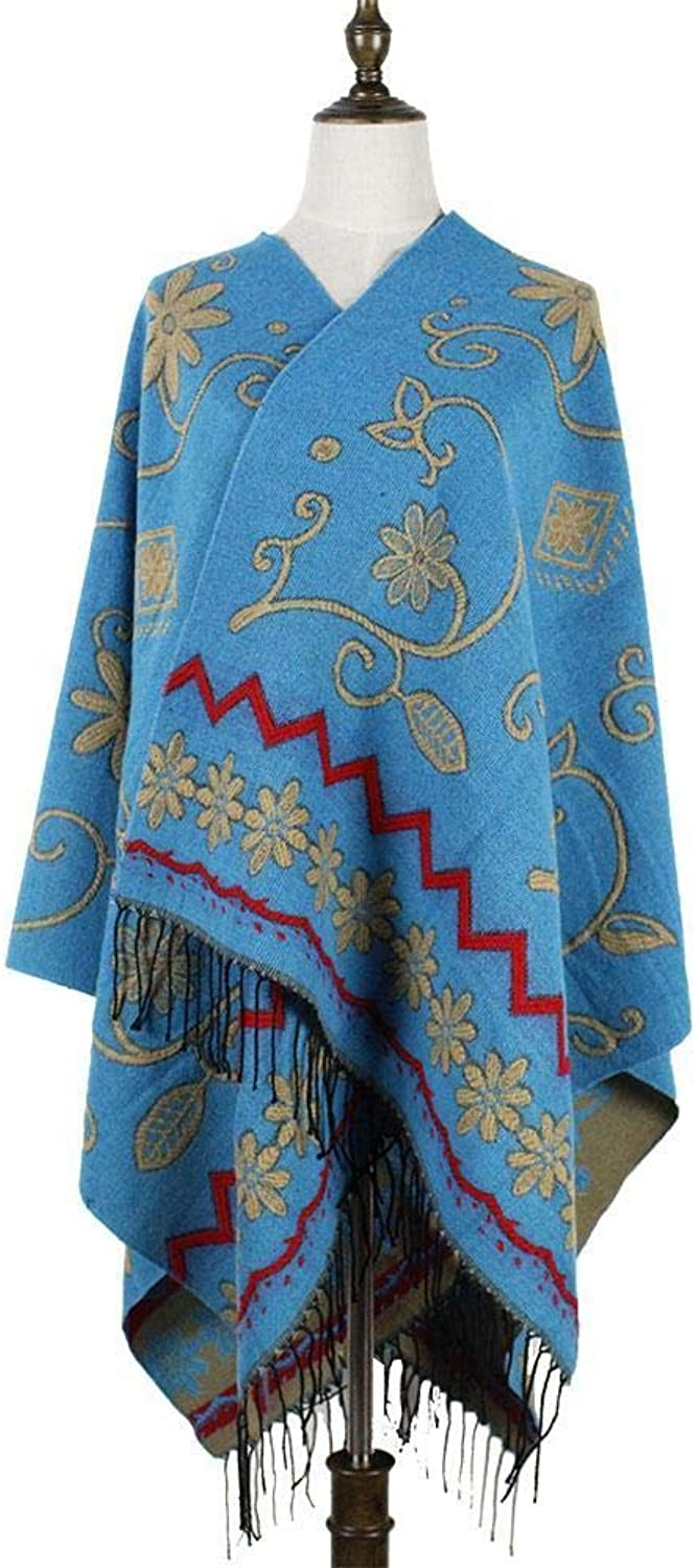 NuoEn Scarf Winter Split Fork Thick Retro Cloak Big Shawl Dualuse Scarf Warm Thick