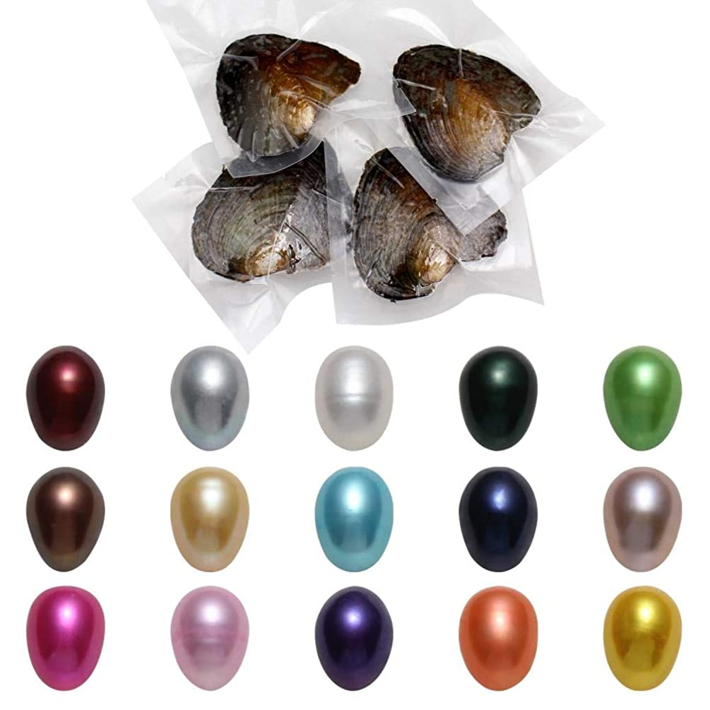 Oysters with Pearls,Freshwater Cultured Love Wish Pearl Oyster Freshwater Pearl with Oval Pearl