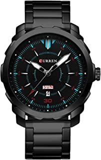 CURREN Men's Watch Stainless Steel Watchband Wristwatches Waterproof Quartz Watches with Calendar for Men 8266 (Black)