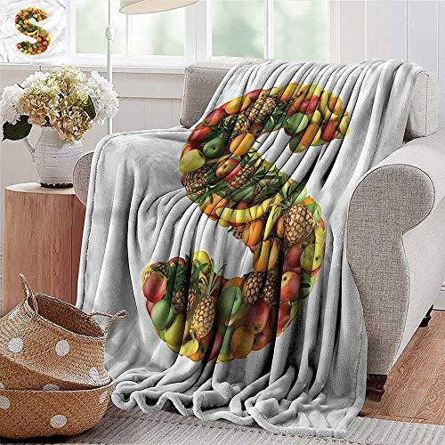 Xaviera Doherty beschwerte Decke für Kinder, Buchstabe S, S-Symbol mit Früchten, weich, kühlend, leicht, 127 x 152 cm