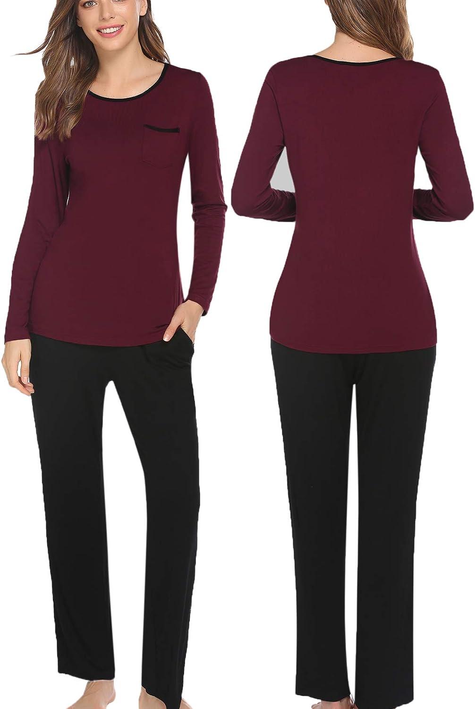 DEALKOO Women Pajama Set Short Sleeve Sleepwear Round Neck Nightwear Pjs Loungewear