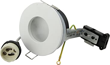 Recessed Round Spotlight IP65 230V GU10 Socket Holder for 50mm LED and Halogen Bulbs (White)