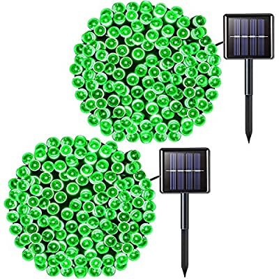 JMEXSUSS 2Pack Halloween 200 LED Solar String Lights 75.5ft 8 Modes Solar Christmas Lights Waterproof for Garden,Wedding,Party,Christmas Tree,Halloween, Curtains,Outdoors(Green-2Pack)