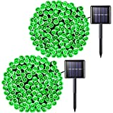 JMEXSUSS 2Pack 200 LED Solar String Lights 75.5ft 8 Modes Solar Christmas Lights Waterproof for Garden,Wedding,Party,Curtain,Homes,Christmas Tree,Valentines,Xmas,Outdoors(Green-2Pack)
