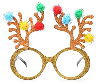 LUKEEXIN Christmas Reindeer Party Sunglasses Fanci-Frame Adult Kids Perfect Party Favor Glasses Party Accessory (Color : Gold)