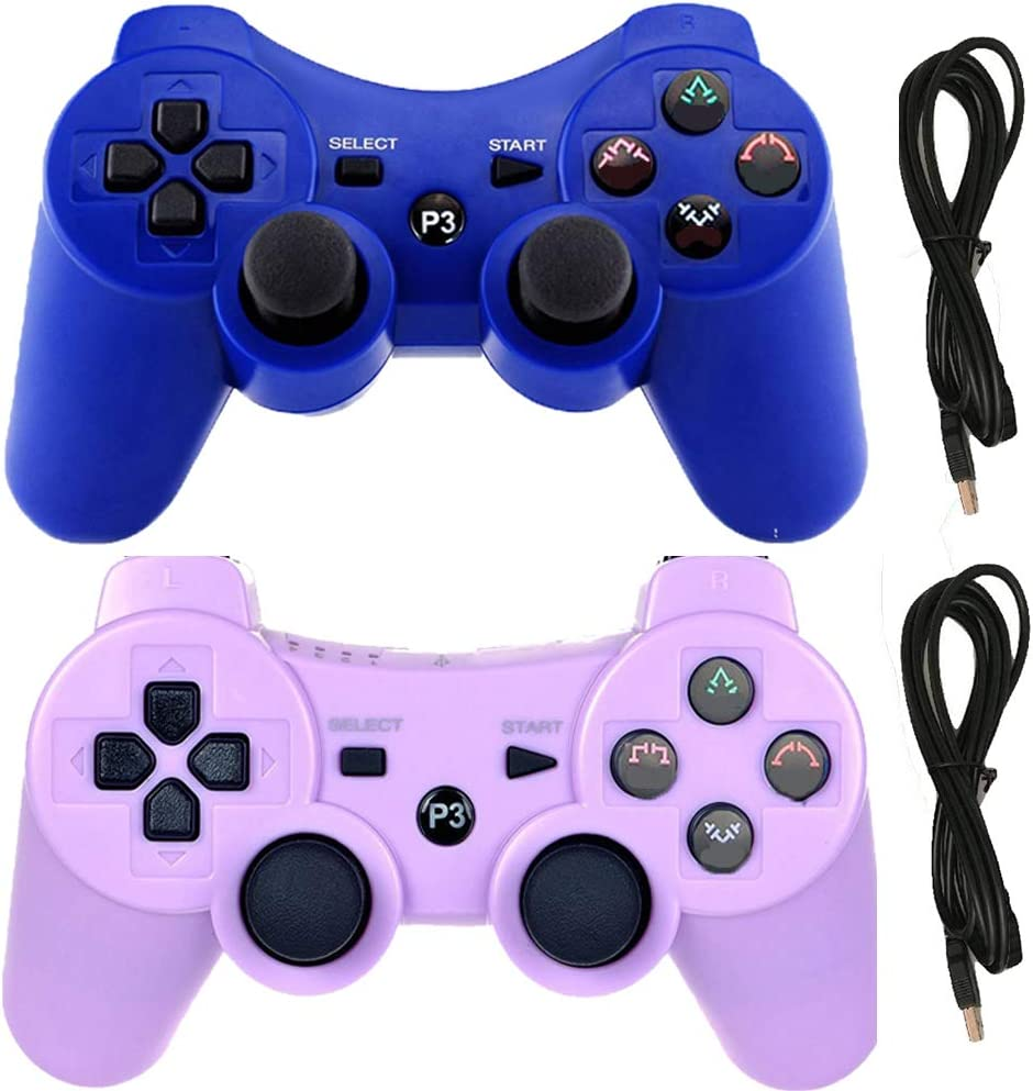 Molgegk Wireless Controllers Replacement for PS3 Remote Gamepad Joystick (Blue and Purple)