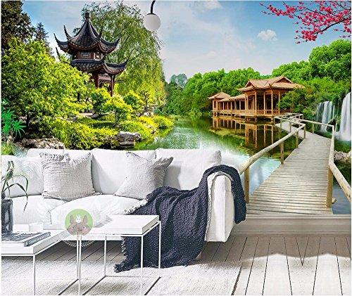Mznmcustom muurschildering 3D behang paviljoen houten brug huisdecoratie schilderen 3D muurschilderingen behang voor woonkamer muur 3 D 200 x 140 cm.