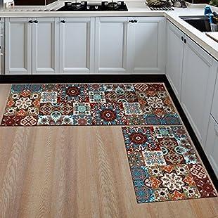 JUZHIJIA Anti-Slip Kitchen Mats Area Rug For Living Room Bathroom Floor Mats Soft Bedroom Carpets Bedside Rug,Pattern 04,60X90Cm And 60X180Cm